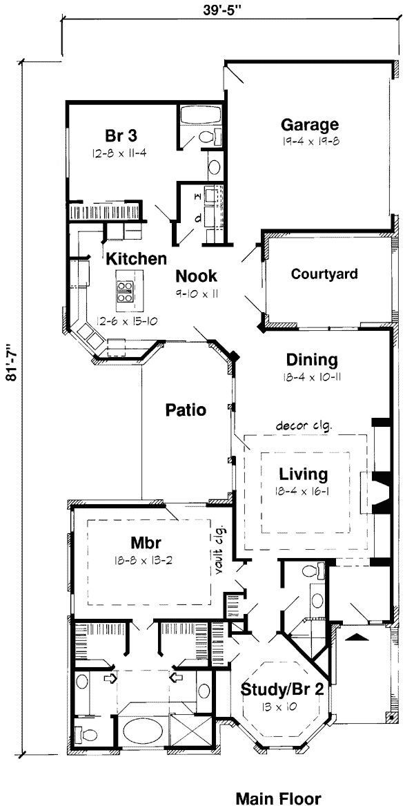 Narrow lot house plans with rear garage interesting main for Narrow house plans with garage in back