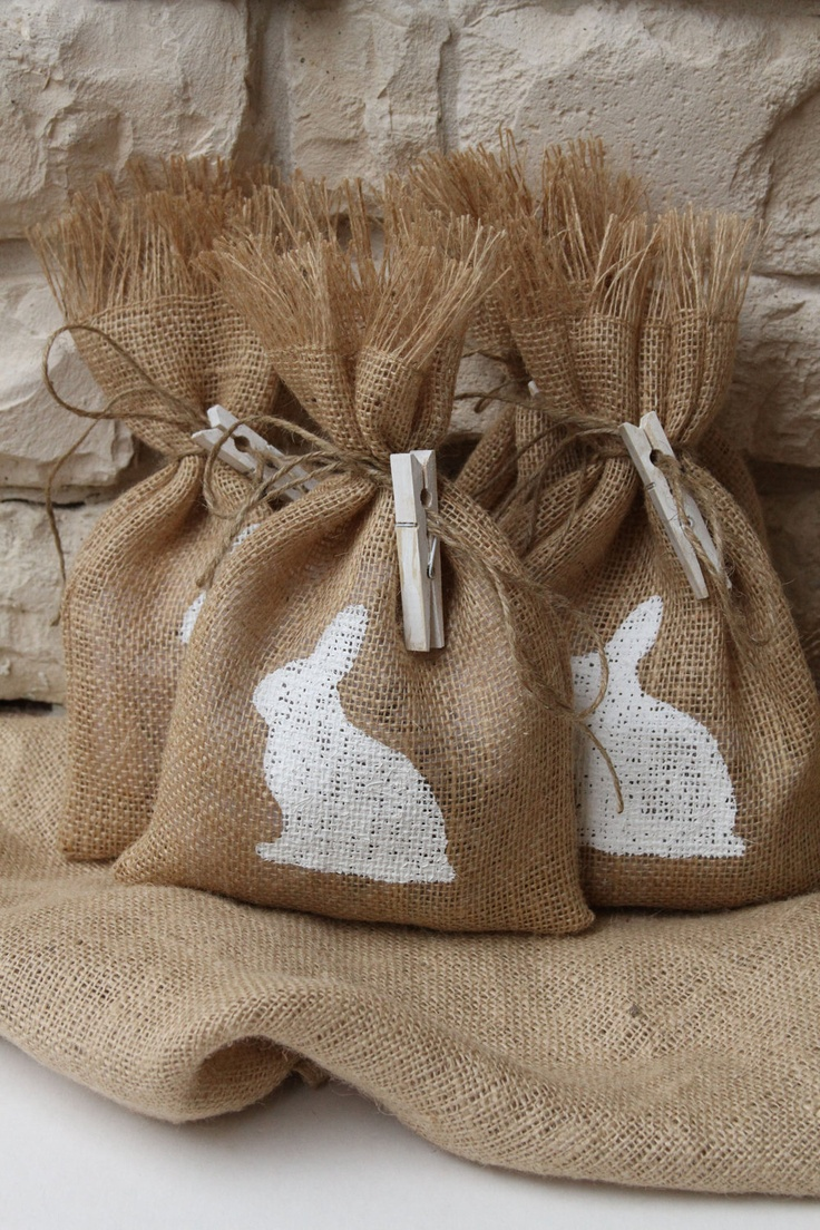 Easter Gift Bags or Treat Bags, Burlap and Hand Painted Bunny. Buy them on Etsy or easily make them yourself.