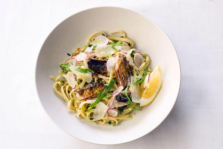 Linguini of charred mackerel with rocket and almond, aged Parmesan and Amalfi lemon