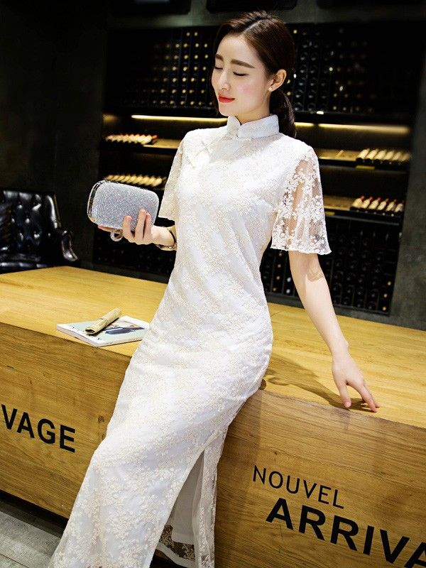 White Embroidered Qipao / Cheongsam Dress with Flutter Sleeve