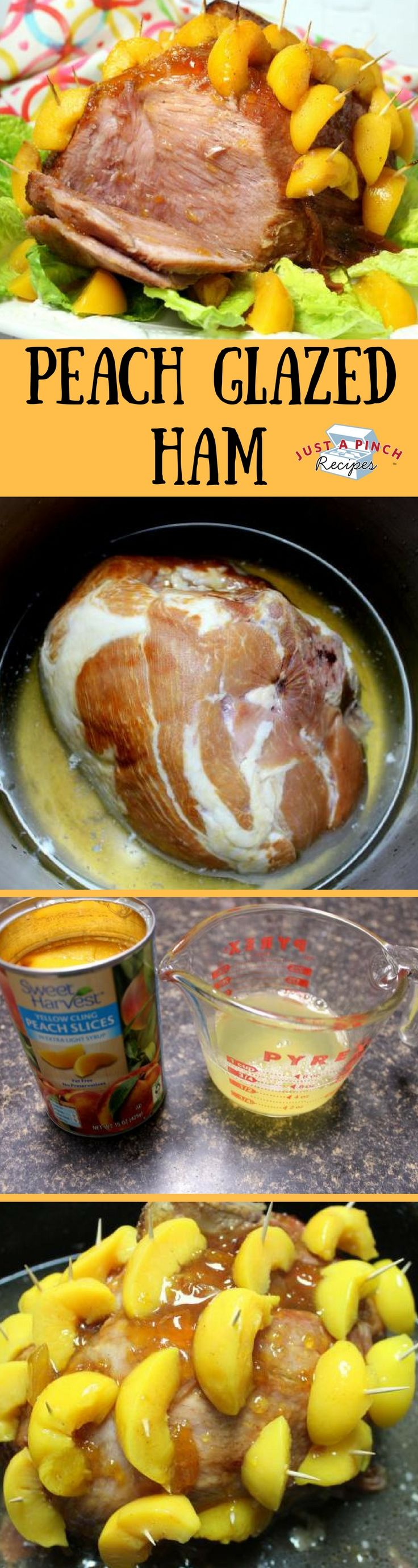 This is definitely a unique ham you should try this year for Easter dinner. The sweet peach glaze is a nice contrast to the smokiness of the ham.