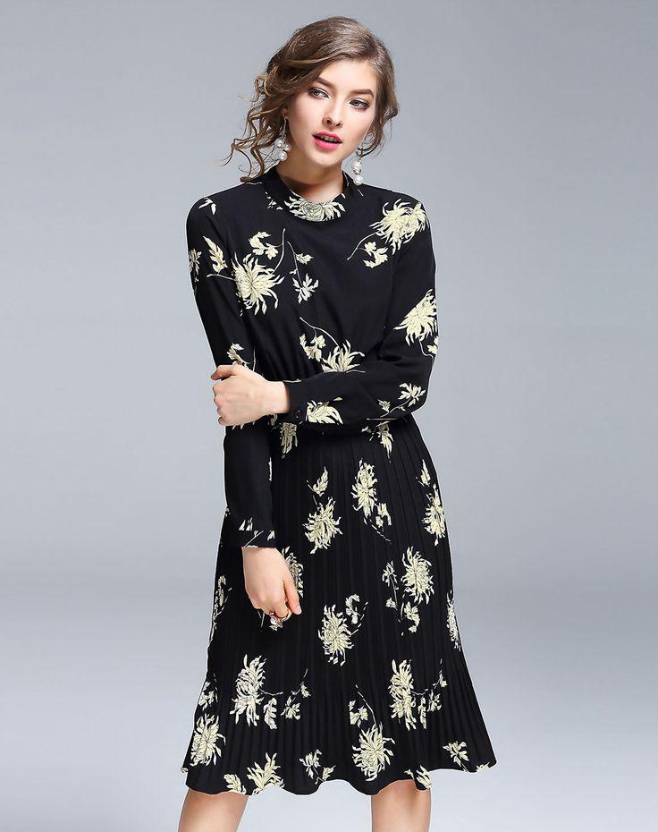 #AdoreWe DAIPYA Black Stand Collar Printed Pleated Midi Dress - AdoreWe.com