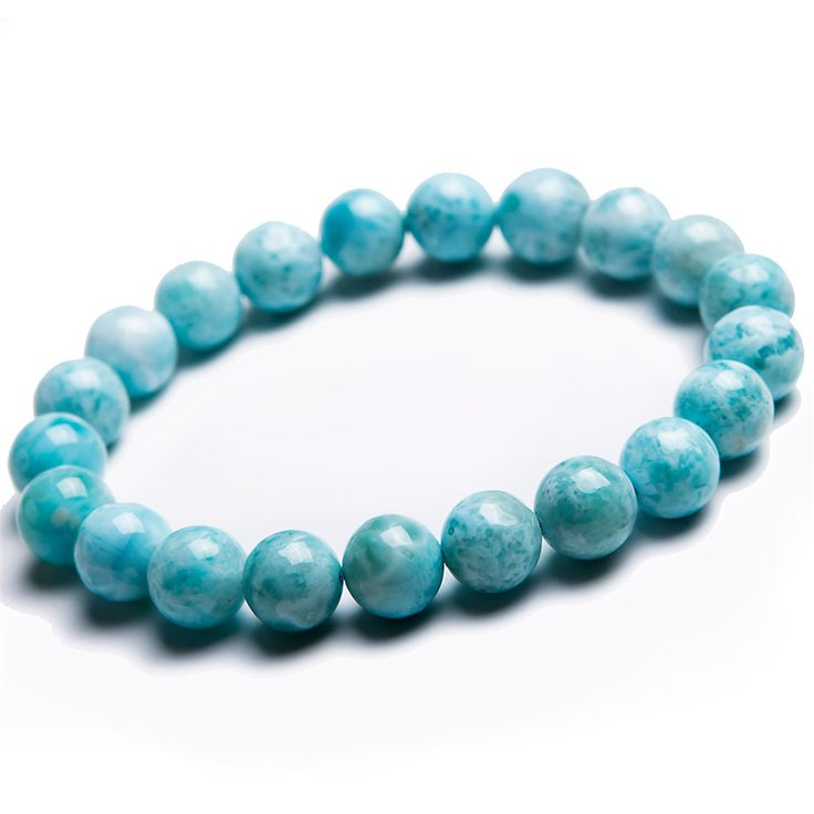 Free Shipping 9mm Natural Blue White Larimar Round Bead Bracelet Women Femme Charm Stretch Bracelet Just One