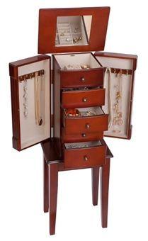 Good Classic Walnut Floor Standing Jewelry Box Armoire