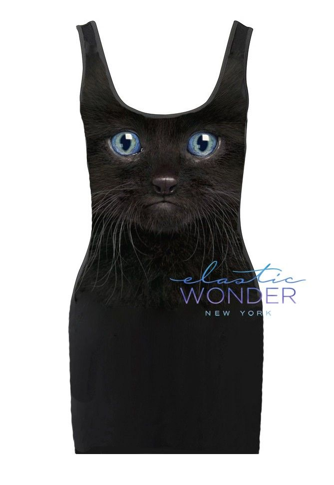 Black Cat Kitten Face Photo Printed Tank Bodycon Micro Mini Dress on framestr.com