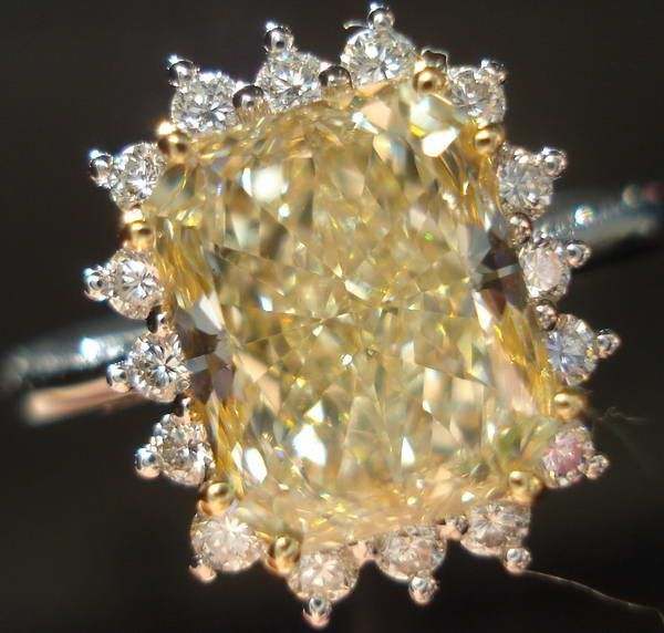 2.97ct W-X Yellow Diamond Halo Ring | Yellow Radiant Cut Diamond Ring | Halo #diamondhaloring