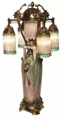 Rare and important Amphora lamp, circa 1900.