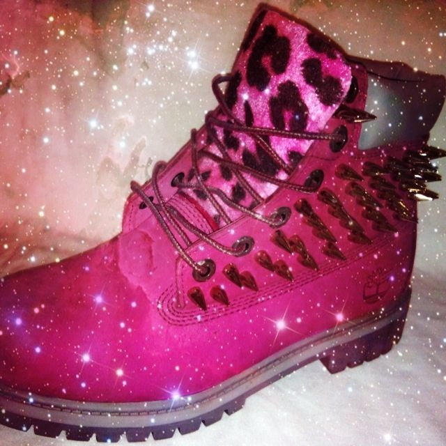These are hand customised, genuine authentic pink timberland boots. customised with silver screw cone studs and hot pink leopard print tongue. All sizes available  Make sure to email your shoe size and confirmation of your address to J3L@hotmail.co.uk