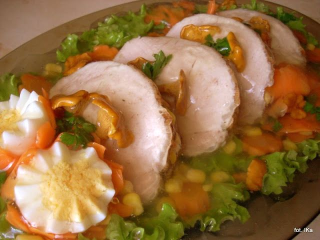 Smaczna Pyza - Sprawdzone przepisy kulinarne: Schab w galarecie z kurkami i sałatką