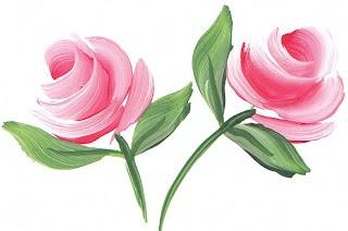En un coup de pinceau, style folklorique - one stroke roses