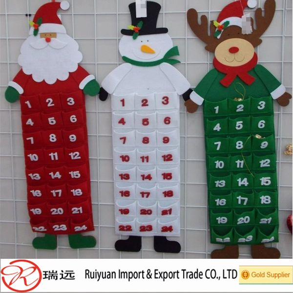 newest hotsale handmade felt artificial wholesale ornament decorations fabric Christmas calendar for wall