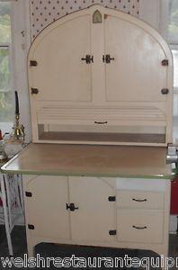 hoosiers  cuboard ebay | ... Arched Door Clock Hoosier Cabinet Roll Top Extended Counter | eBay