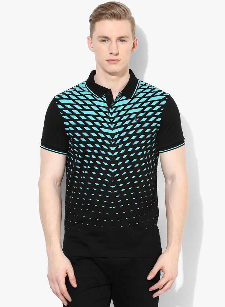 Buy Arrow New York Black Printed Regular Fit Polo T-Shirt for Men Online India, Best Prices, Reviews | AR544MA18ROJINDFAS