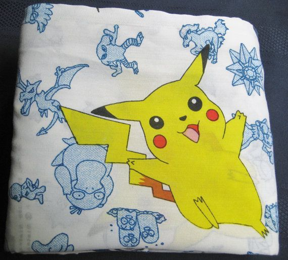 Pokemon Bedding Twin Size Flat Sheet Pikachu by missussewnsew, $14.95