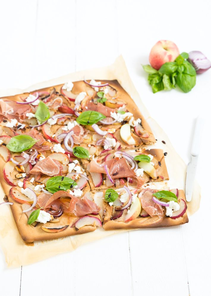 whole wheat pizza plate with peach