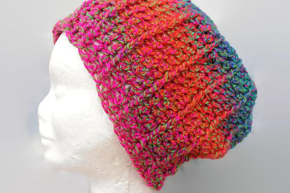 Crochet Slouchy Beanie Rainbow Acrylic. Orange by MadeforYOUbyFi $28 AUD