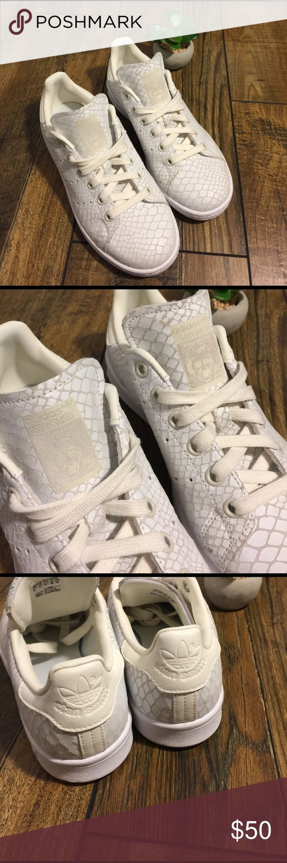 Adidas Stan Smith Sneakers NEW with no tags ~ Never worn ~ White leather snake skin pattern ~ Size 6 Ladies ~ Adidas Shoes Sneakers
