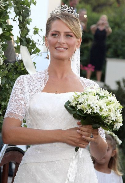 HRH Princess Nikolaos of Greece and Denmark is the former Miss Tatiana Blatnik. She married HRH Prince Nikolaos, son of King Constantine and Queen Anne-Marie of Greece on August 25, 2010. For her big day, Tatiana's new mother-in-law, Queen Anne-Marie, lent her the Antique Corsage Tiara. Theirs is the first Royal Wedding in Greece since the grooms parents, King Constantine and Queen Anne-Marie married in Athens in 1964.