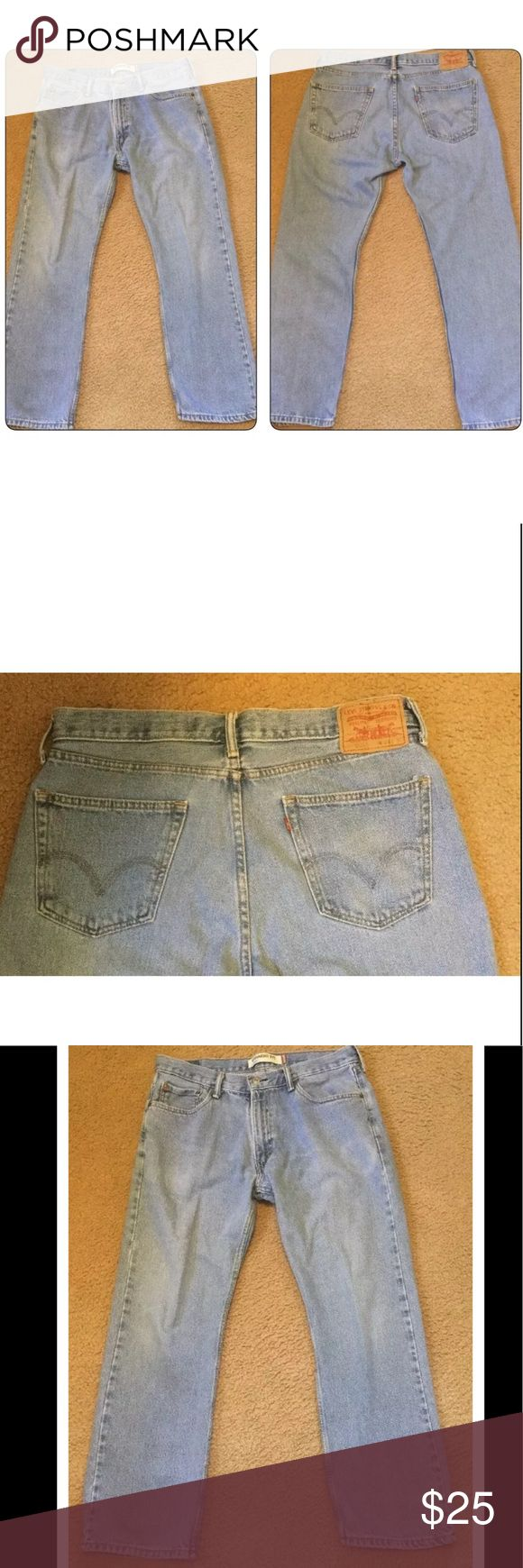 """Men's LEVIS 505 jeans straight 34x29 light wash Very nice pre-owned jeans with no observed flaws or defects. Levi's 505 Straight Fit. Tag size is 34x30. Actual size is 34x29.  Please go by hand measurements.   waist: 17""""  rise: 11""""  inseam: 29""""  leg opening: 8""""   J17 Jeans Straight"""