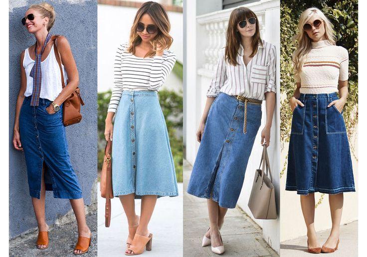 Oito looks diferentes para você usar saia jeans mídi