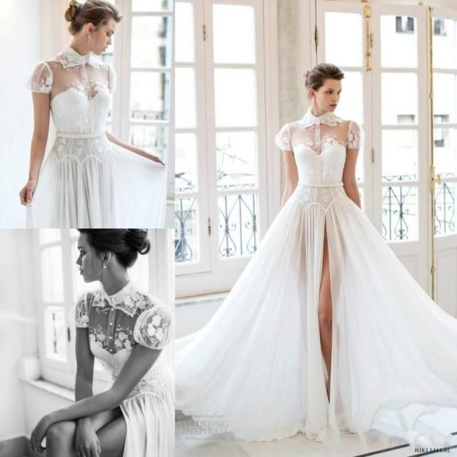 Great Sexy Riki Dalal Wedding Dresses Thigh High Slits High Neck Lace Applique Ball Gowns