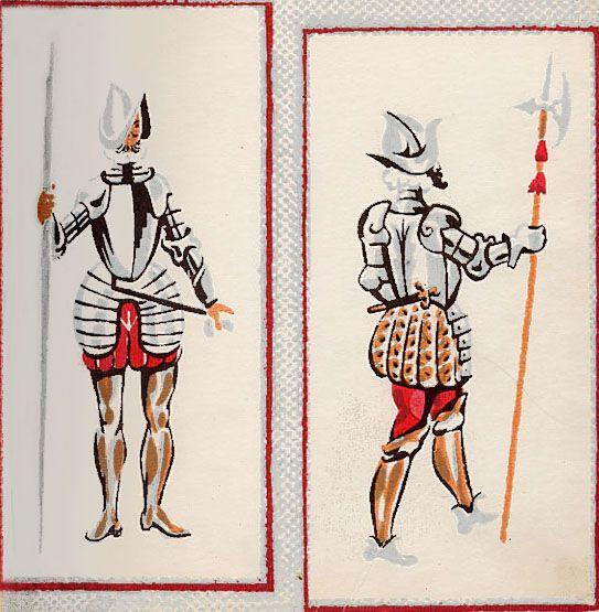 Lanceros y alabarderos. Atuendos militares de la época de Carlos I y Felpe II (1527-1598). A la izquierda, soldado con cuerpo de lanceros y a la derecha un capitán de alabarderos. Ambos llevan morrión, gorguera blanca y armadura. El soldado usa polainas altas, ajustadas; el capitán, calzas de raso rojo y botas altas de becerro.