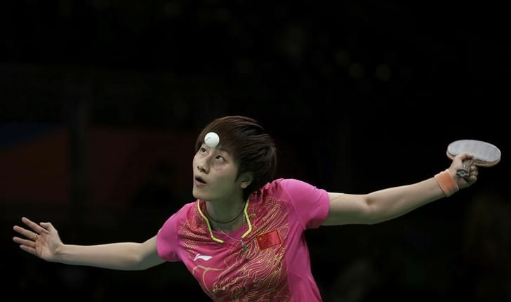 OLYMPICS-RIO-TABLETENNIS-W-SINGLES 2016 Rio Olympics - Table Tennis - Women's Singles - Gold Medal Match - Riocentro - Pavilion 3 - Rio de Janeiro, Brazil - 10/08/2016. Ding Ning (CHN) of China eyes the ball during play against Li Xiaoxia (CHN) of China. REUTERS/Alkis Konstantinidis