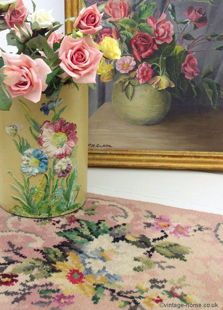 Vintage Home Pretty 1940s Wartime Fl Rug Roses Painting And Barbola Boudoir Bin