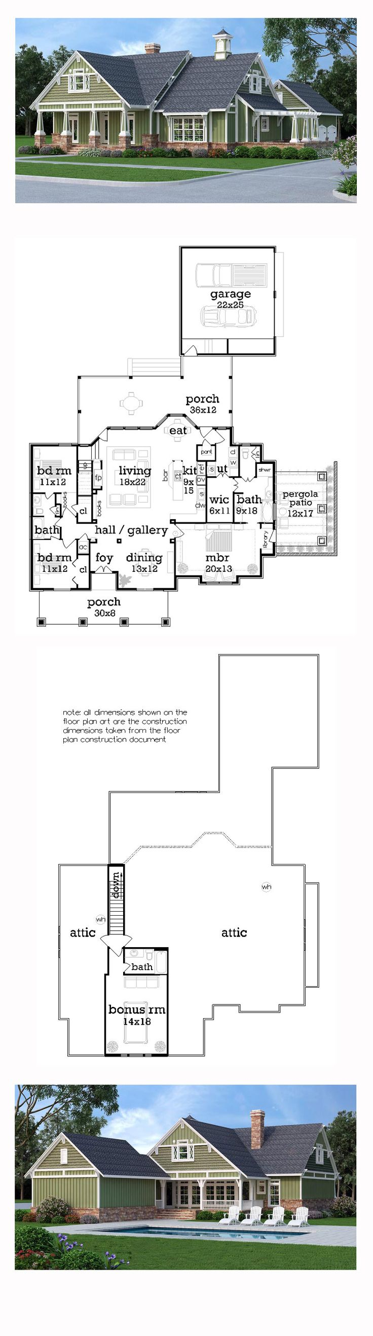 New Craftsman House Plan 65999   Total Living Area: 1976 sq. ft., 3 bedrooms and 2 bathrooms. #craftsmanhome