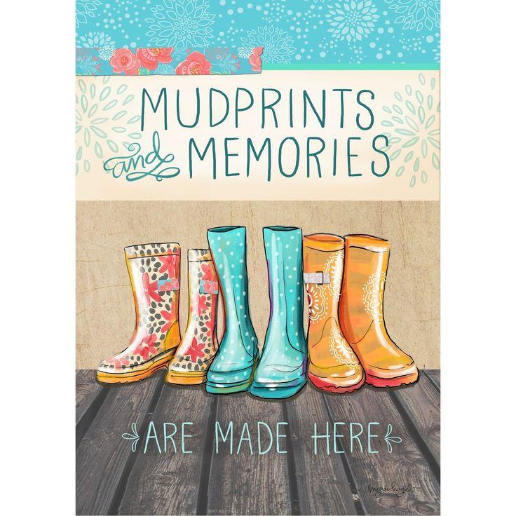 Mud Prints and Memories Synthetic Fiber Door Mat (12 x 18 garden flag), Multi, Outdoor Décor