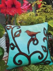 ***WoolyLady.com Bird on branch Bird in the Hand Wool Applique Throw Pillow