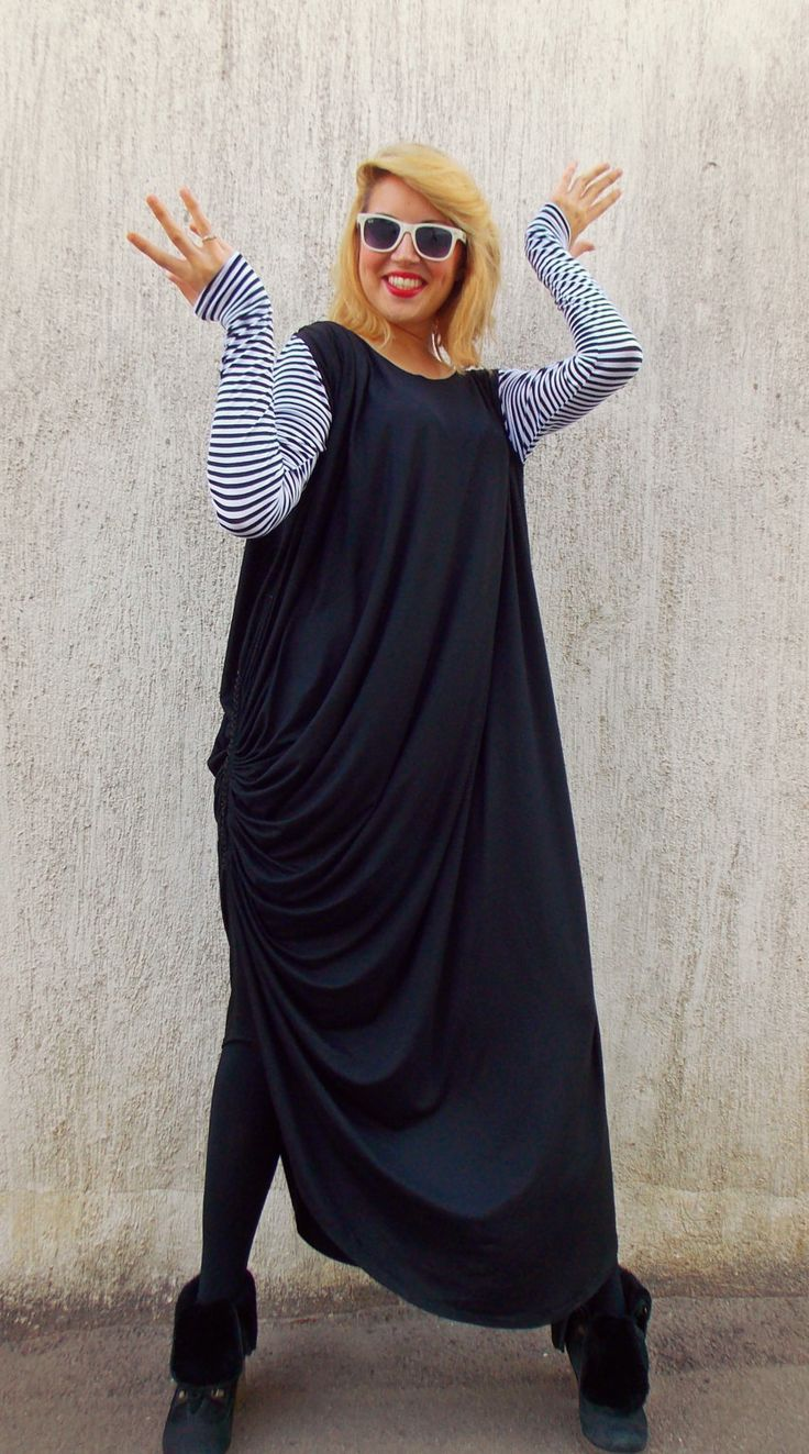 Now selling: Plus Maxi 3XL Black Dress / Plus Size Oversize Dress with Striped Sleeves TDK85 https://www.etsy.com/listing/200038426/plus-maxi-3xl-black-dress-plus-size?utm_campaign=crowdfire&utm_content=crowdfire&utm_medium=social&utm_source=pinterest