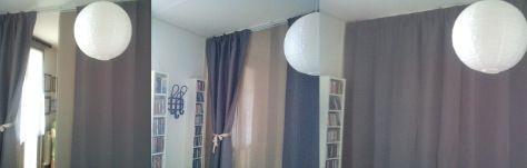 Le tende MARJUN sono oscuranti e attutiscono i rumori, mentre il pannello esterno scorre come una porta, grazie al TIRATENDE KVARTAL. Tutto Ikea.