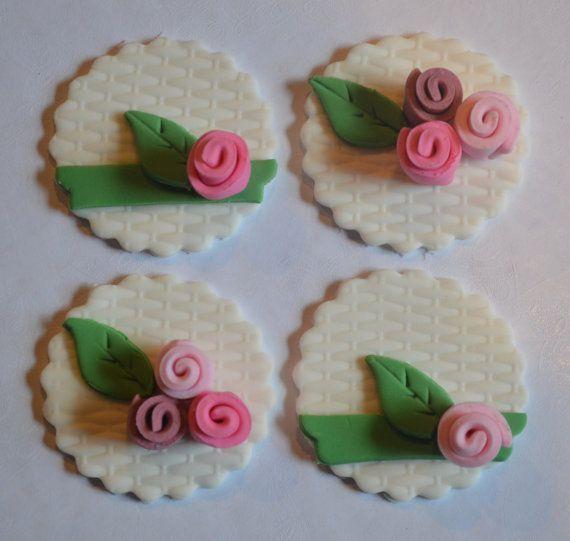 12 Fondant Wedding Cupcake Toppers Flower Bouquet