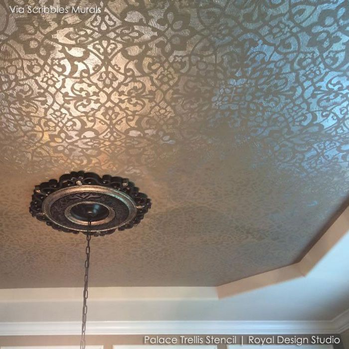 metallic stencil painting could be pretty for the powder room