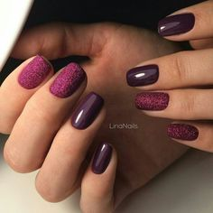 Beautiful new year's nail, Dark purple nails, Evening nails, Fall nails ideas, January nails, nails under violet dress, New Year nails 2017, New year nails ideas 2017