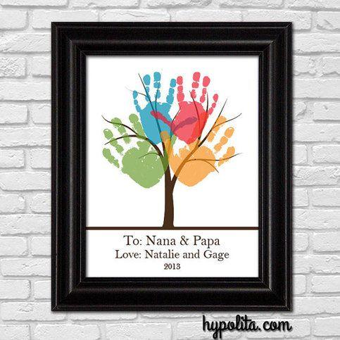 PRINTABLE DIY Personalized Handprint Tree 8x10 or 11x14 Print - Grandparent Gift - Grandmother - Nana - Papa -Kid Art Project from Hypolita
