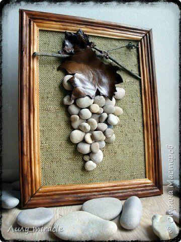 Картина панно рисунок Аппликация Панно в эко-стиле Виноград Дерево Камень Кожа Ткань фото 1