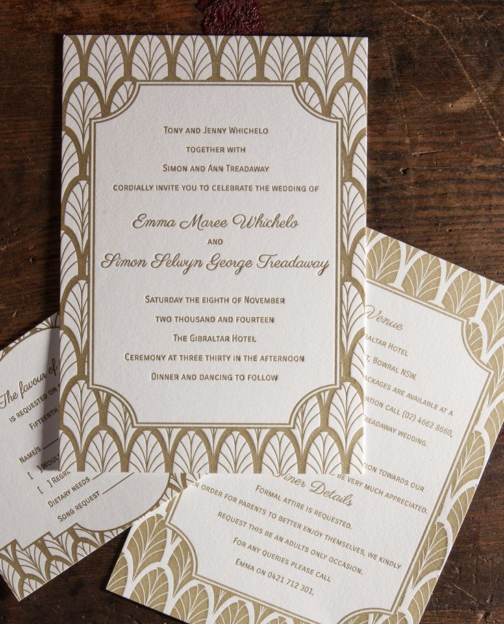 Invitation, RSVP and information card.