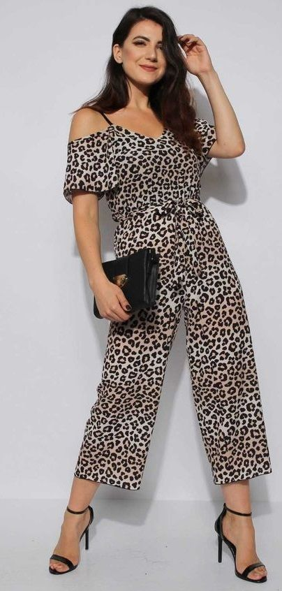 1af27751c39 Leopard Cami Culotte Jumpsuit - Leopard Print Cami Culotte Jumpsuit With  Adjustable Cami Straps and a Tie Front Detail with a Stretchy Leopard Cre…