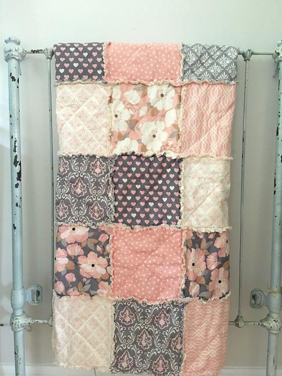 Crib Rag Quilt Baby Girl Crib Bedding Blush Pink Gray Nursery