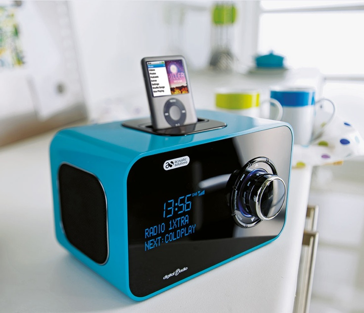 Acoustic Solutions DAB digital radio and speaker dock from Argos is a fantastic aqua colour and made to look super sleek in a high gloss finish.