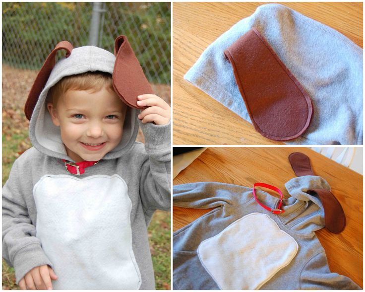 [Pinning my own because I had trouble finding a homemade puppy costume idea.]  Puppy Dog Costume for infant, toddler, child.  Gray hooded sweatshirt, felt ears, felt belly, real dog collar.  Black nose, too, if he would have cooperated for it.  :)