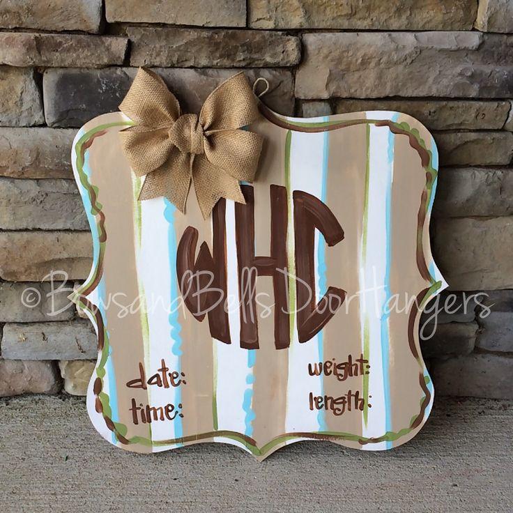 Hospital Door Hanger, Baby Door Decoration, Baby Gift, baby shower , hospital baby sign, boy hospital hanger, football themed baby hanger by BowsandBellsHangers on Etsy https://www.etsy.com/listing/240108189/hospital-door-hanger-baby-door