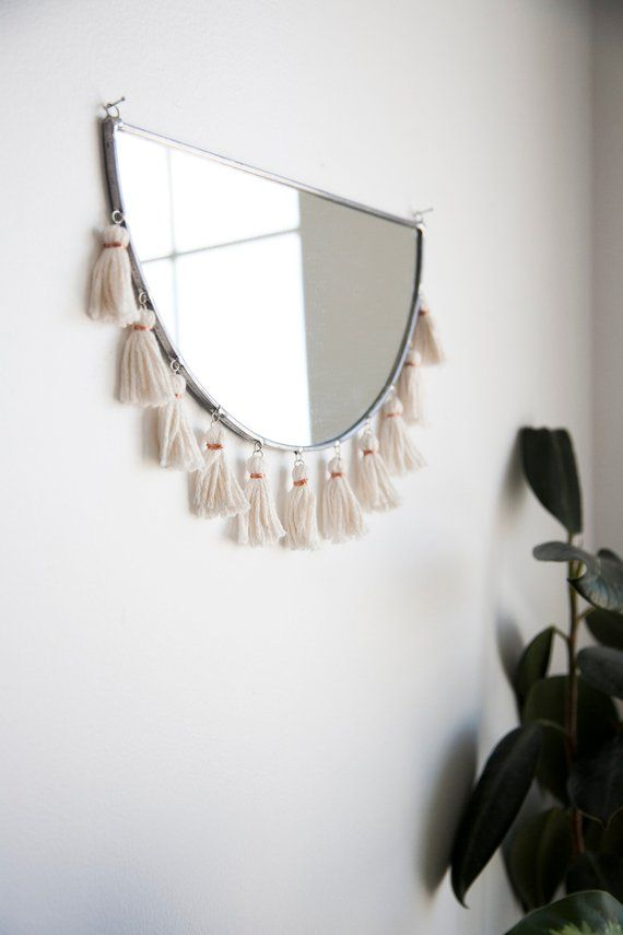 The Kiesa Half Circle Mirror With Tassels Stained Glass