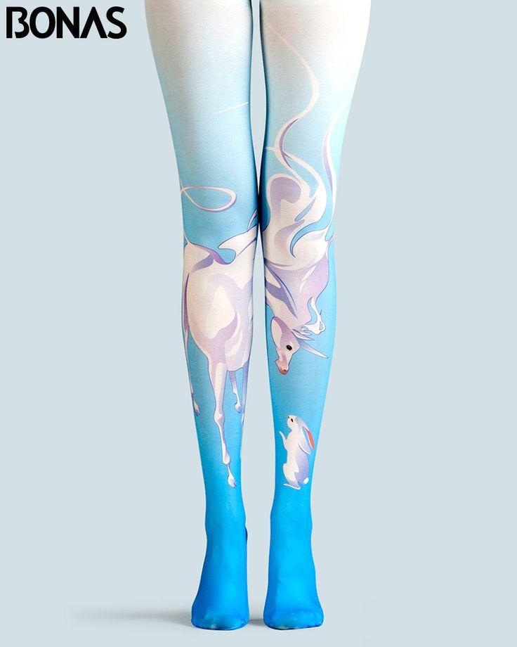 BONAS Unicorn Pantyhose Women Print Tights Female Spring Cotton