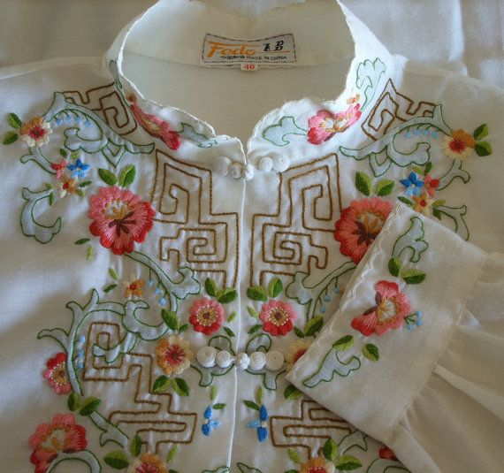 Vintage Chinese Blouse Shirt / Intricate by RainbowValleyVintage