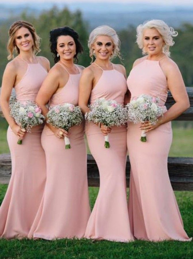 03ccc5a13a Mermaid Halter Backless Sweep Train Pink Stretch Satin Bridesmaid ...