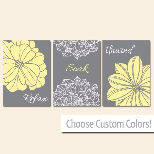 yellow gray bathroom decor wall art canvas or print flower bathroom pictures relax