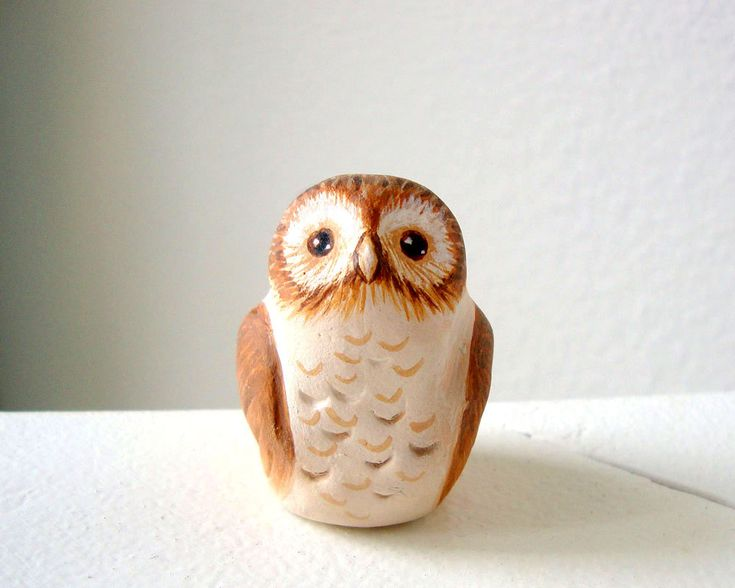 Clay Statues   Little Clay Owl Sculpture Painted Ceramic Clay Bird by Iktomi